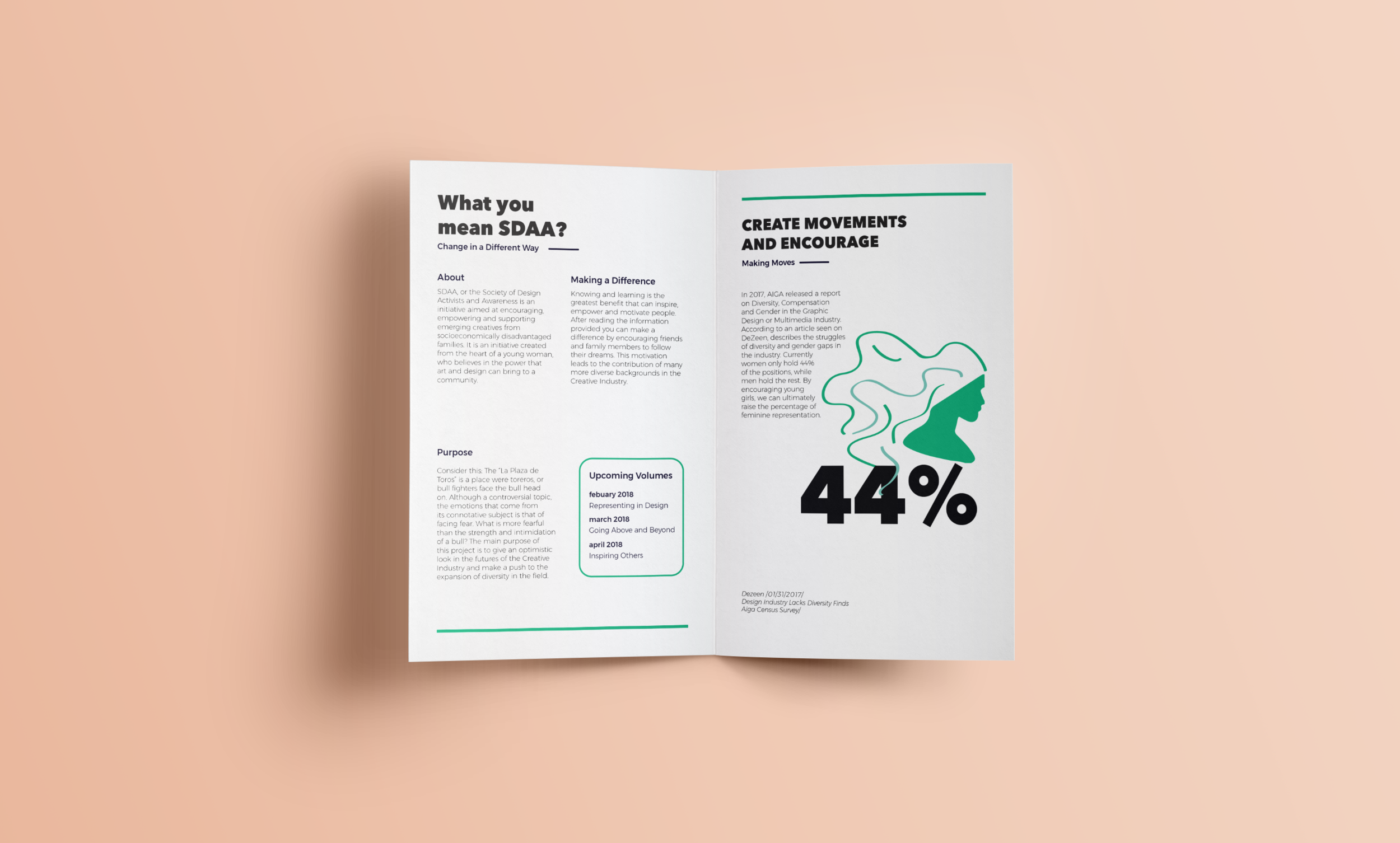 Design + Research - Every pamphlet made included information and data on the creative industry.