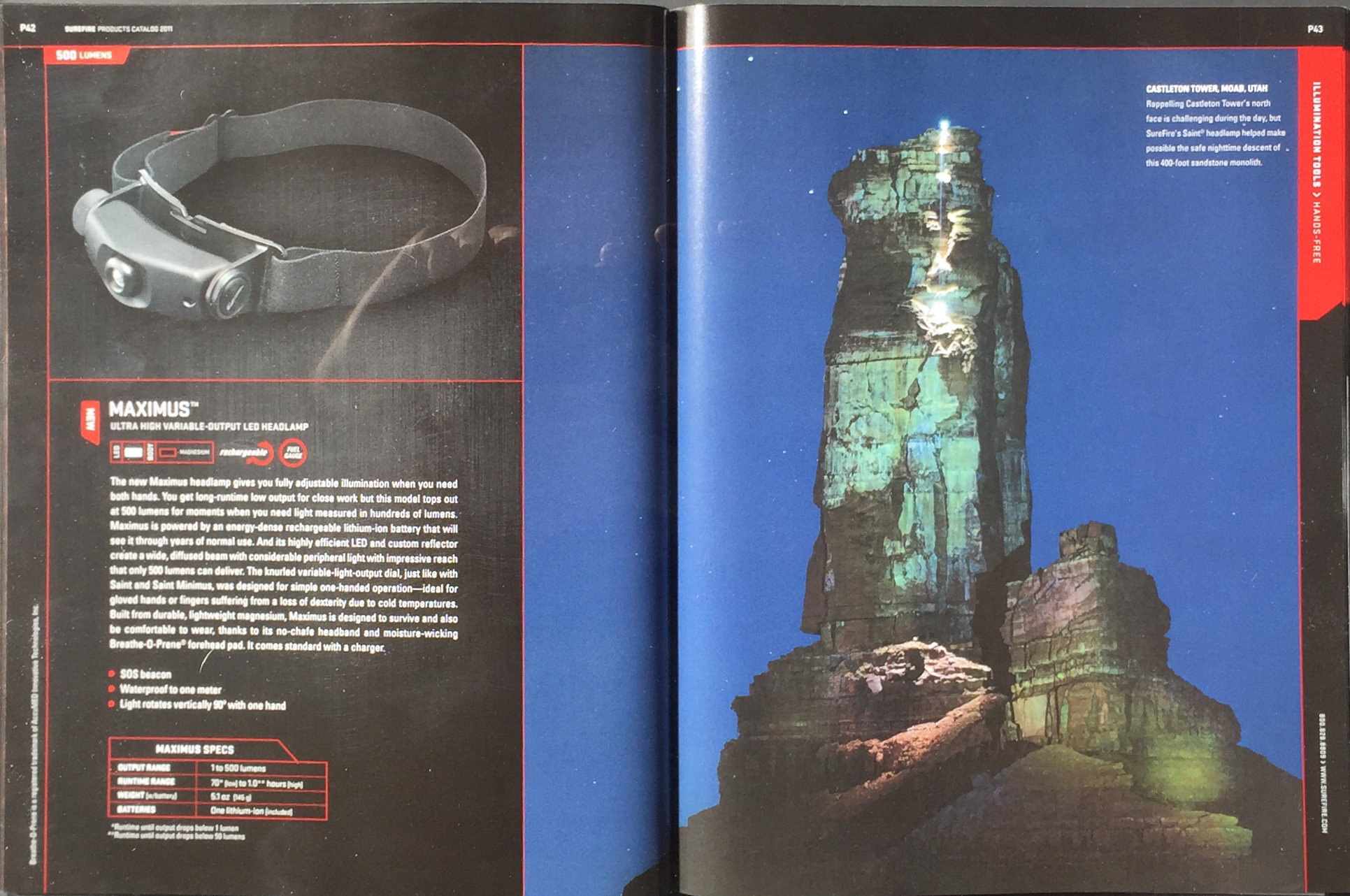 SUREFIRE CATALOG   ADVENTURE MODEL: ERIC ODENTHAL (ON THE TOWER HOLDING THE LIGHT)  PHOTOGRAPHER;  GREG VON DOERSTEN