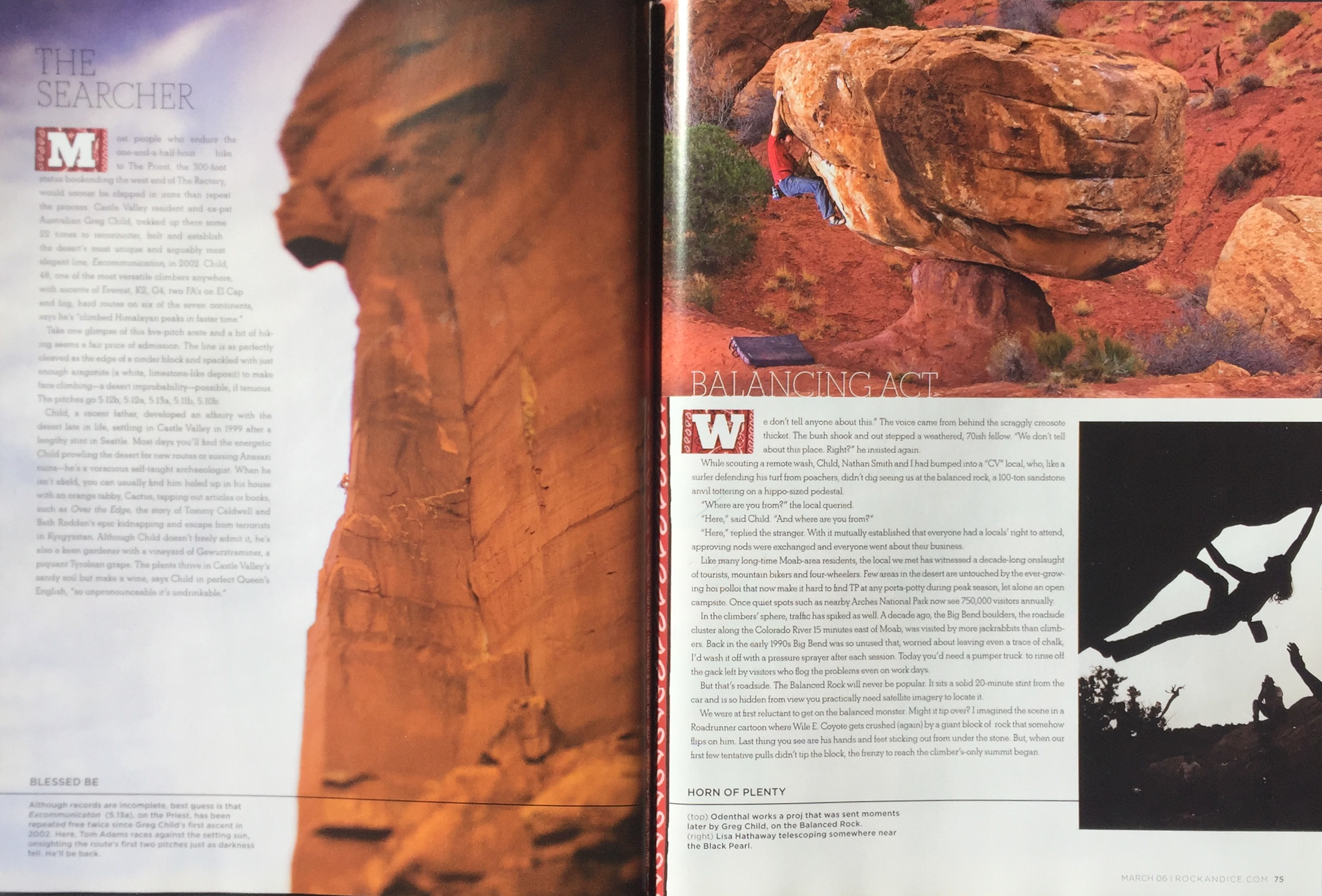ROCK AND ICE MAGAZINE  CLIMBER (UPPER RIGHT): ERIC ODENTHAL, LISA HATHAWAY (LOWER RIGHT)  PHOTOGRAPHER; TIM KEMPLE