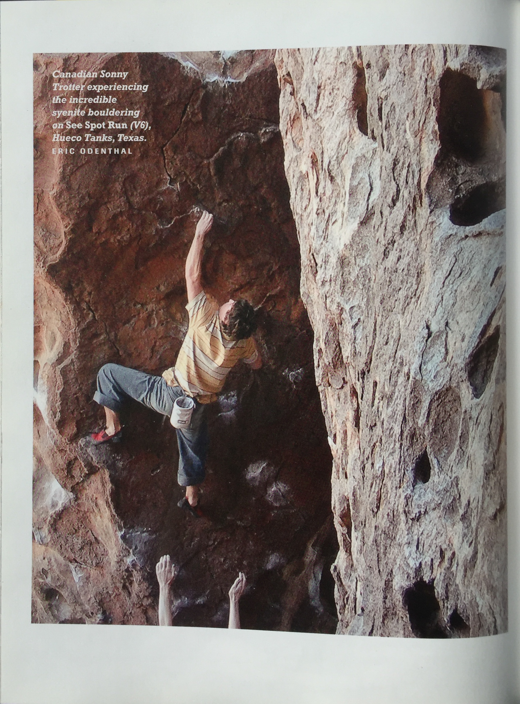 HOW TO BOULDER BY JOHN SHERMAN  CLIMBER | SONNIE TROTTER  PROBLEM | SEE SPOT RUN V6  AREA | HUECO TANKS | TEXAS  PHOTO | ERIC ODENTHAL