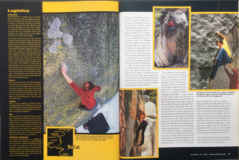 CLIMBING MAGAZINE  CLIMBER; ERIC ODENTHAL (UPPER RIGHT)  PHOTOGRAPHER: JIM THORNBURG  BLACK MOUNTAIN, CALIFORNIA