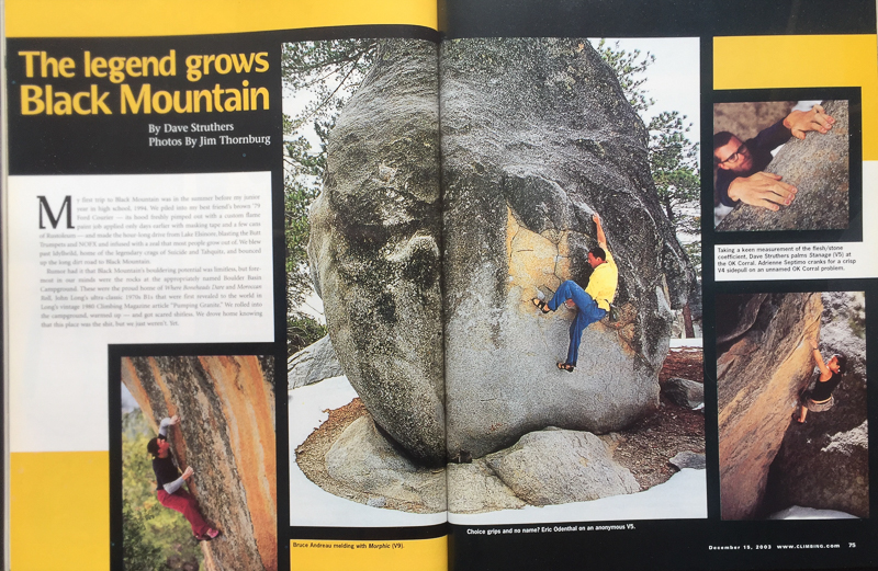 CLIMBING MAGAZINE  CLIMBER: ERIC ODENTHAL (YELLOW SHIRT)   PHOTOGRAPHER: JIM THORNBURG  BLACK MOUNTAIN, CALIFORNIA