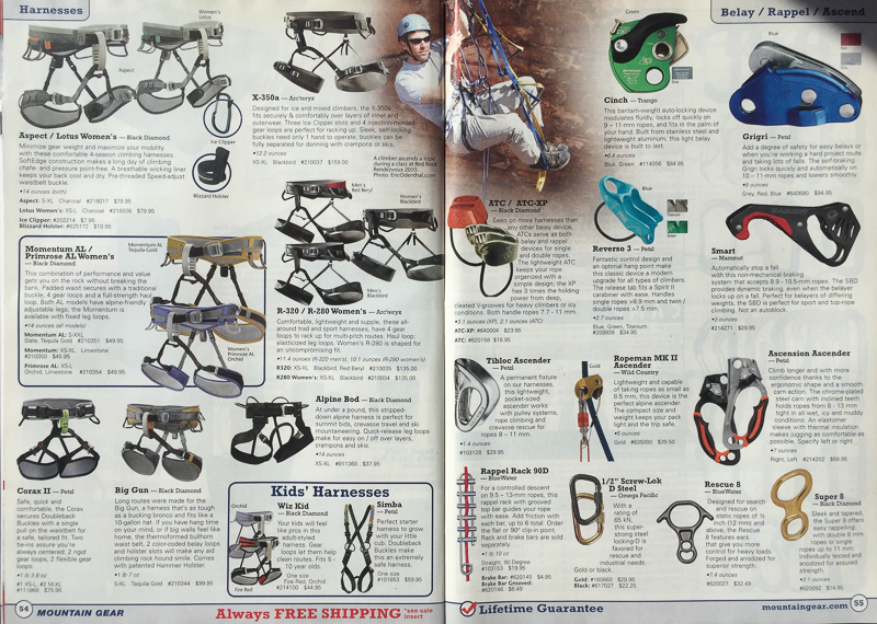 MOUNTAIN GEAR CATALOG   PHOTOGRAPHER: ERIC ODENTHAL