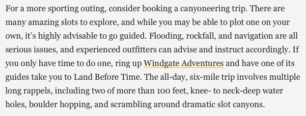 Text from Outside Magazine 2019 - The Ultimate Moab, Utah Travel Guide