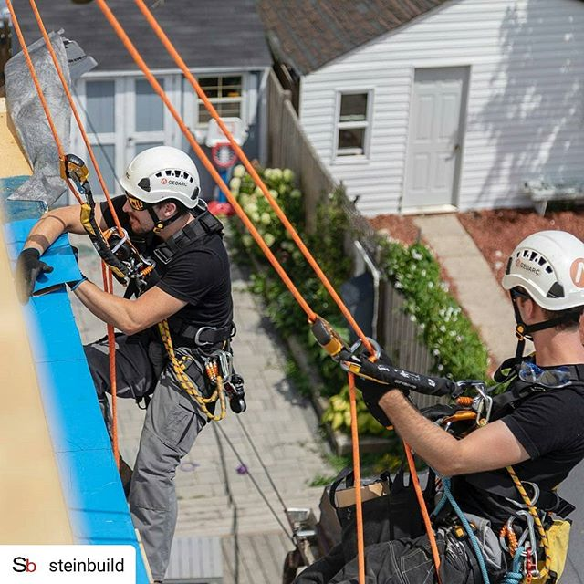 #Repost @steinbuild • • • • • This past summer we had the opportunity to have rope access technicians perform exterior work at Project Lisgar.  Thanks to @_geoarc for providing a feasible solution in a timely matter. Exterior waterproofing can be tricky on semi-detached houses, especially in tight spaces. These guys provided access via ropes, and skilled Labour to complete the task in a day.  Depending on your project and site access situation, using rope access technicians for certain tasks can be more feasible than setting up conventional scaffolding or renting zoom booms.  Geoarc is fully certified, safe, skilled, and confirm to the green book. . . . #steinbuild #contractorsofinsta #contractor #renovation #construction #constructionmanagement #instahome #dreamhome #home #customhomes #residentialdesign #customhomebuilder #ropeacces #ropes #ropeaccesstechnician