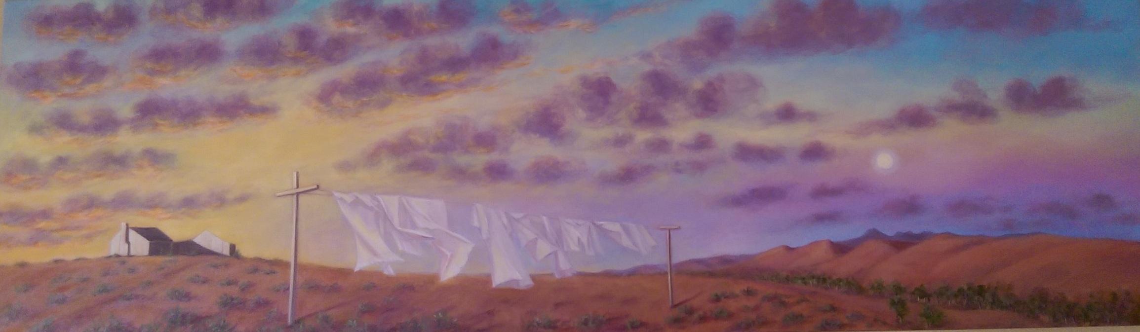 Where's Beltana 2018. Oil on canvas 55cm x 182 cm. $2800