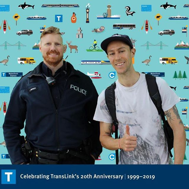 Celebrating #mytranslink 's 20th anniversary 🎉 every day. They're doing pop up events with prizes all over so keep your eyes peeled for friendly police officers and @translink staff... Did you know the BC Commuter Challenge is celebrating its 24th anniversary of being coordinated by @bestmobility ?!?! 🙀#commuterchallenge