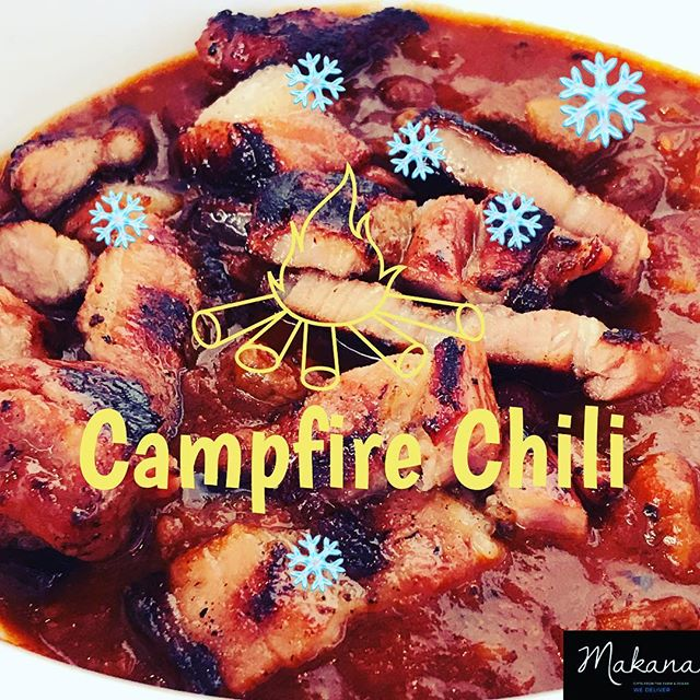 ❄️ First snow of the season ❄️We slow cooked an original campfire  #chili 🌶 made with wholesome kidney beans, tomatoes, beef and top with roast corn and edamame. Perfect bowl to warm up. 😋  Yes we are open and delivering today in this weather. Pls be kind to your delivery rider. 🚲  Or just come on over — brave the snow and enjoy the winter wonderland. There's chili waiting for you as well as all our favorites: Garlic shrimp, Loco Moco, House noodles and House fried rice. . . . #campfirechili #chili #makanabbq #makanachili #bingewatching #comfortfood #delivery #instagood #instaday #instahub