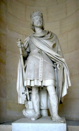 My 43rd great grandfather Charles Martel whose statue stands at the Palace at Versailles. (I guess he's my wife's great grandfather too.)