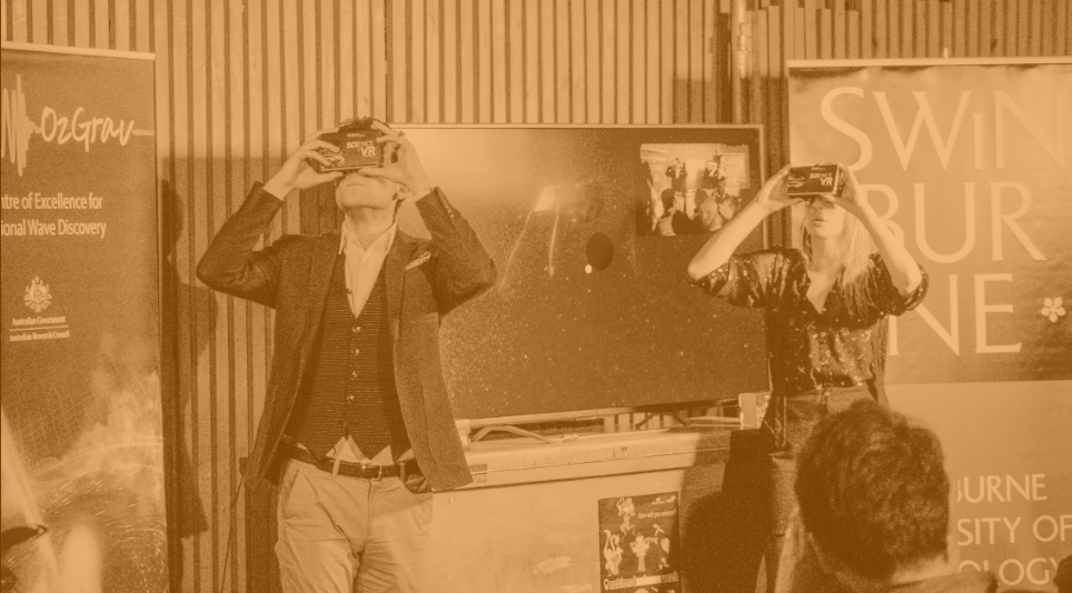 Grab a delicious craft beer and catch the latest news in black holes with Alan Duffy and Rebecca Allen. Download the app and explore the universe. Mini VR headsets provided on arrival. Auslan Interpreters confirmed.