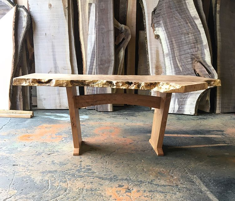 Burled maple table on handcrafted curled maple base