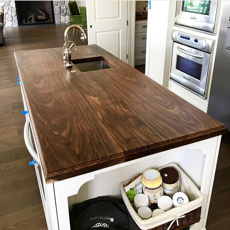 Black walnut island top with sink cutout