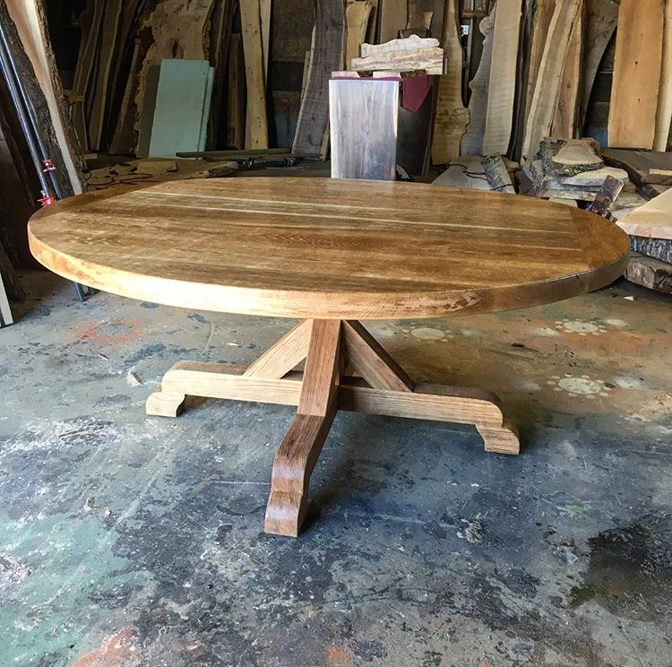 6' round white oak dining table on handcrafted white oak base