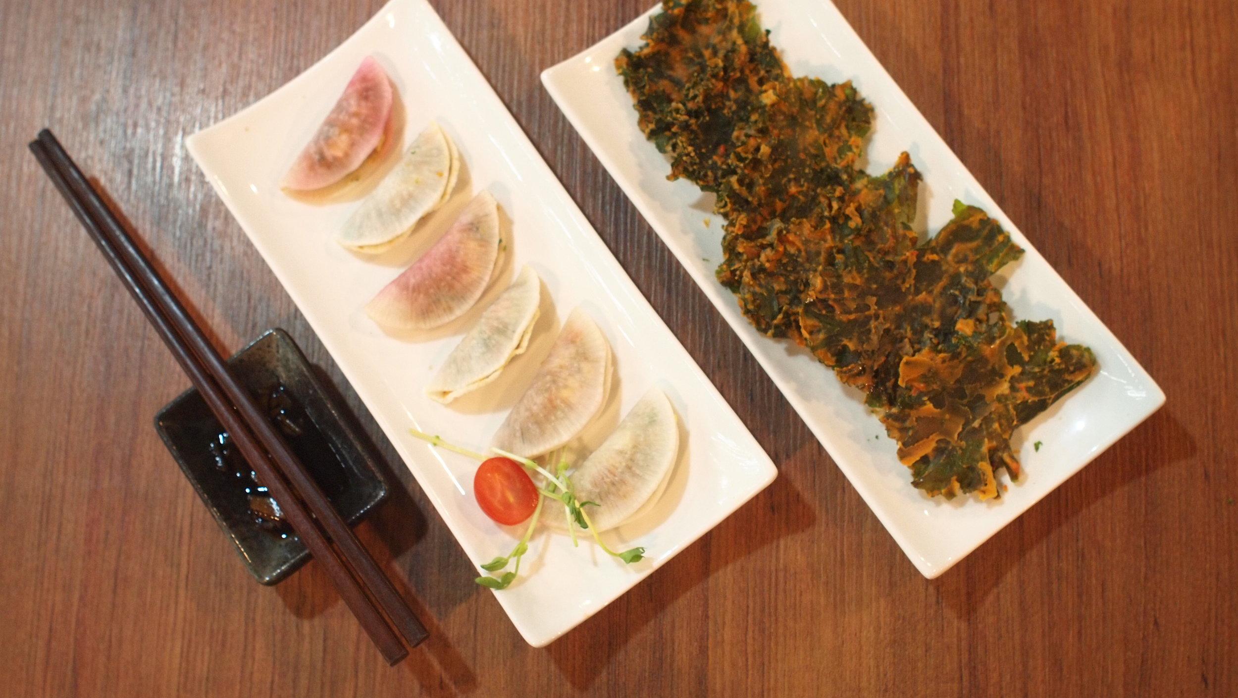 綠野林的創意小食:素食白蘿卜餃子、芝士  羽衣甘藍薯片 (Vegan Chessy Kale Chips)