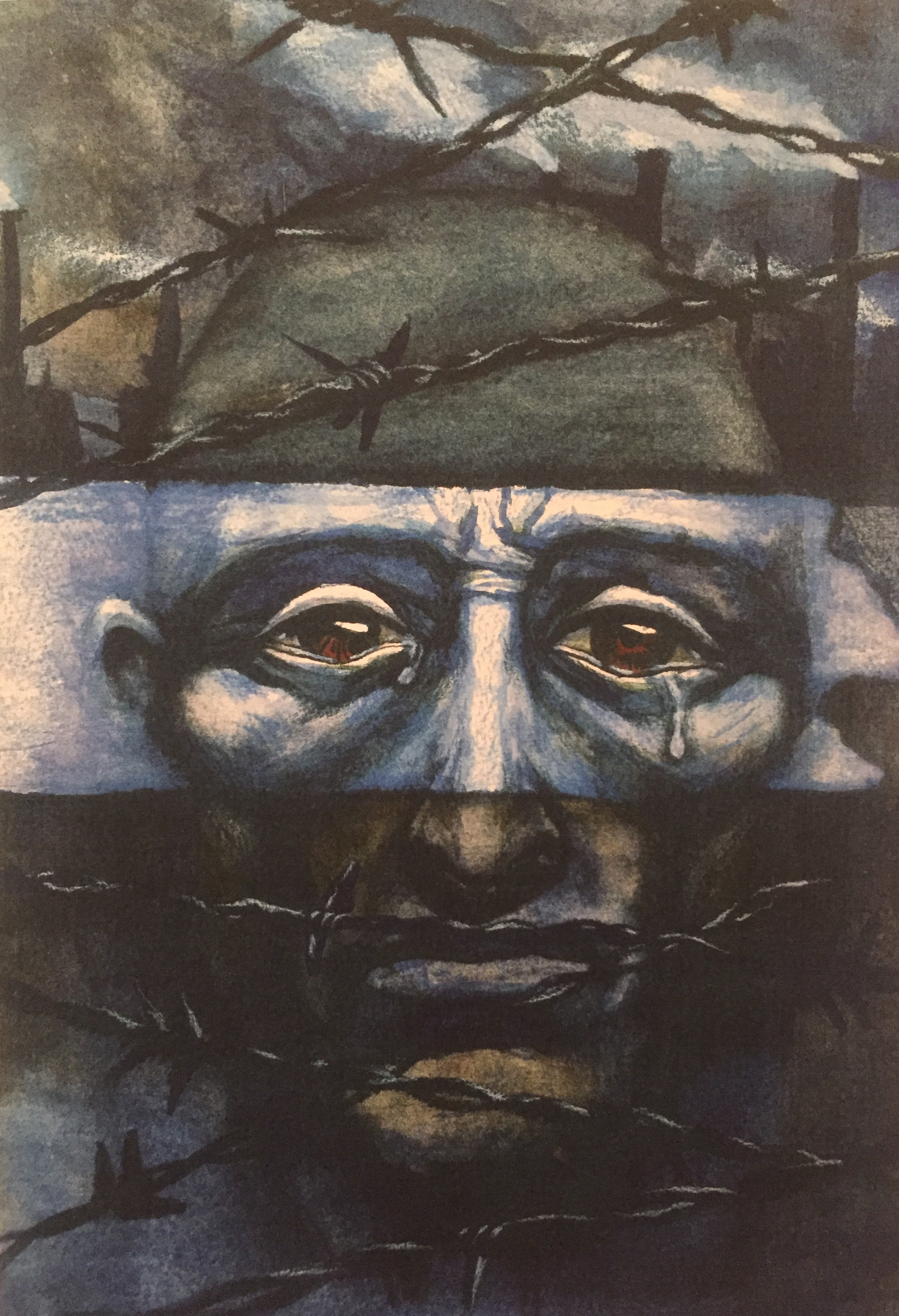 Tears of the Holocaust,  Colored Pencils on Watercolor