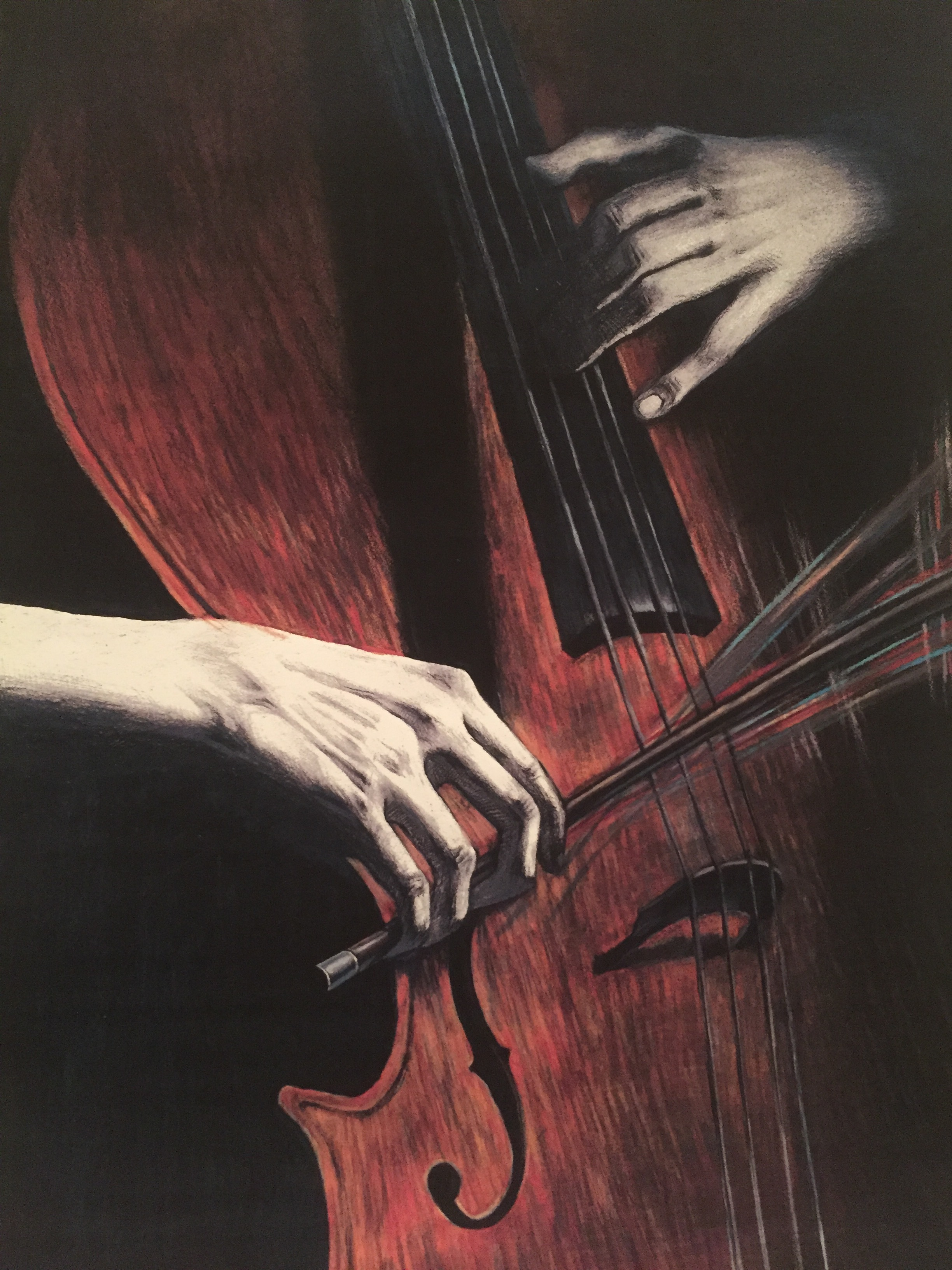 Me Playing Cello,  Colored Pencils on Watercolor