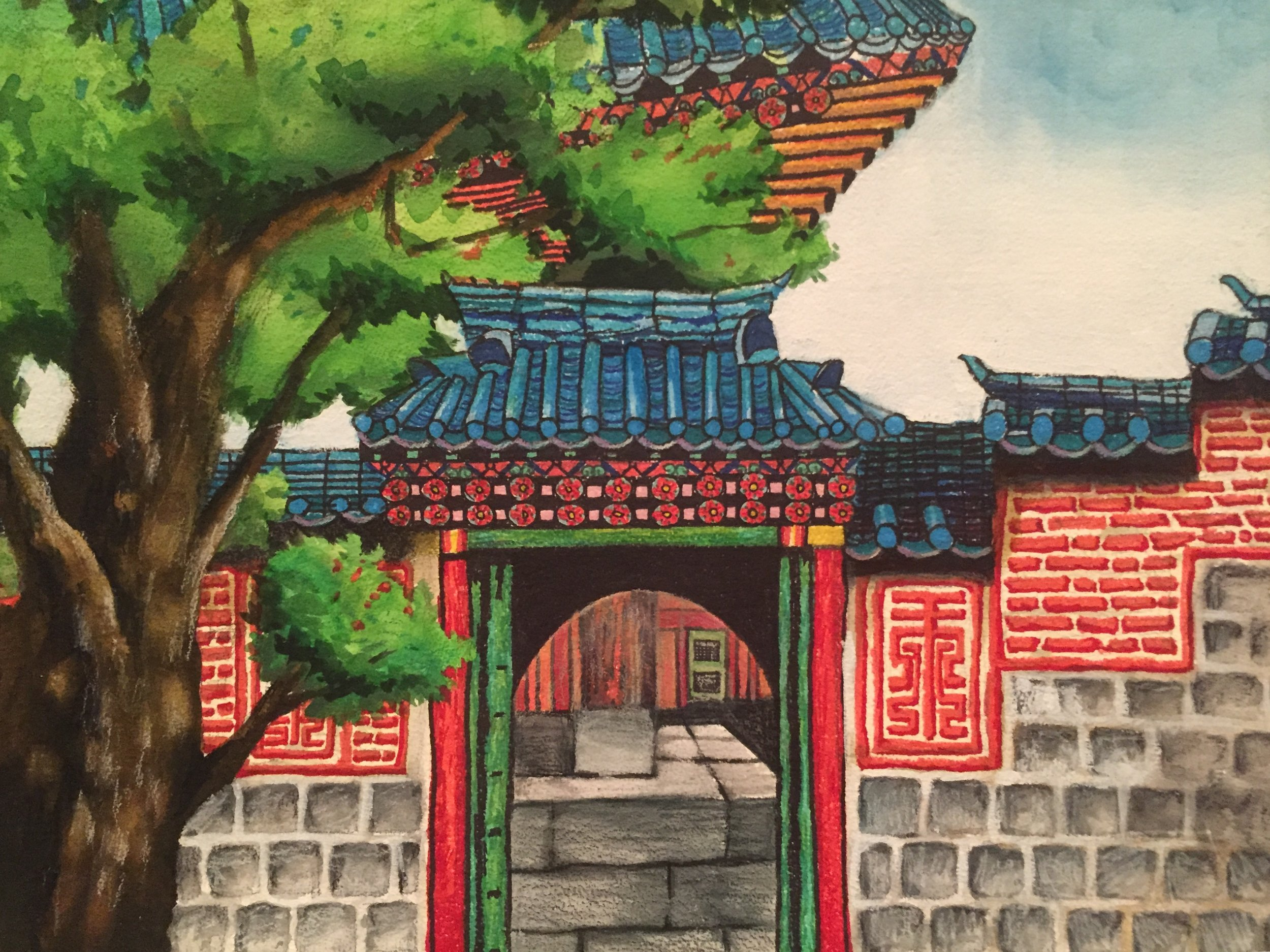 Wong Gung (King's Palace),  Gel Pens and Colored Pencils on Watercolor