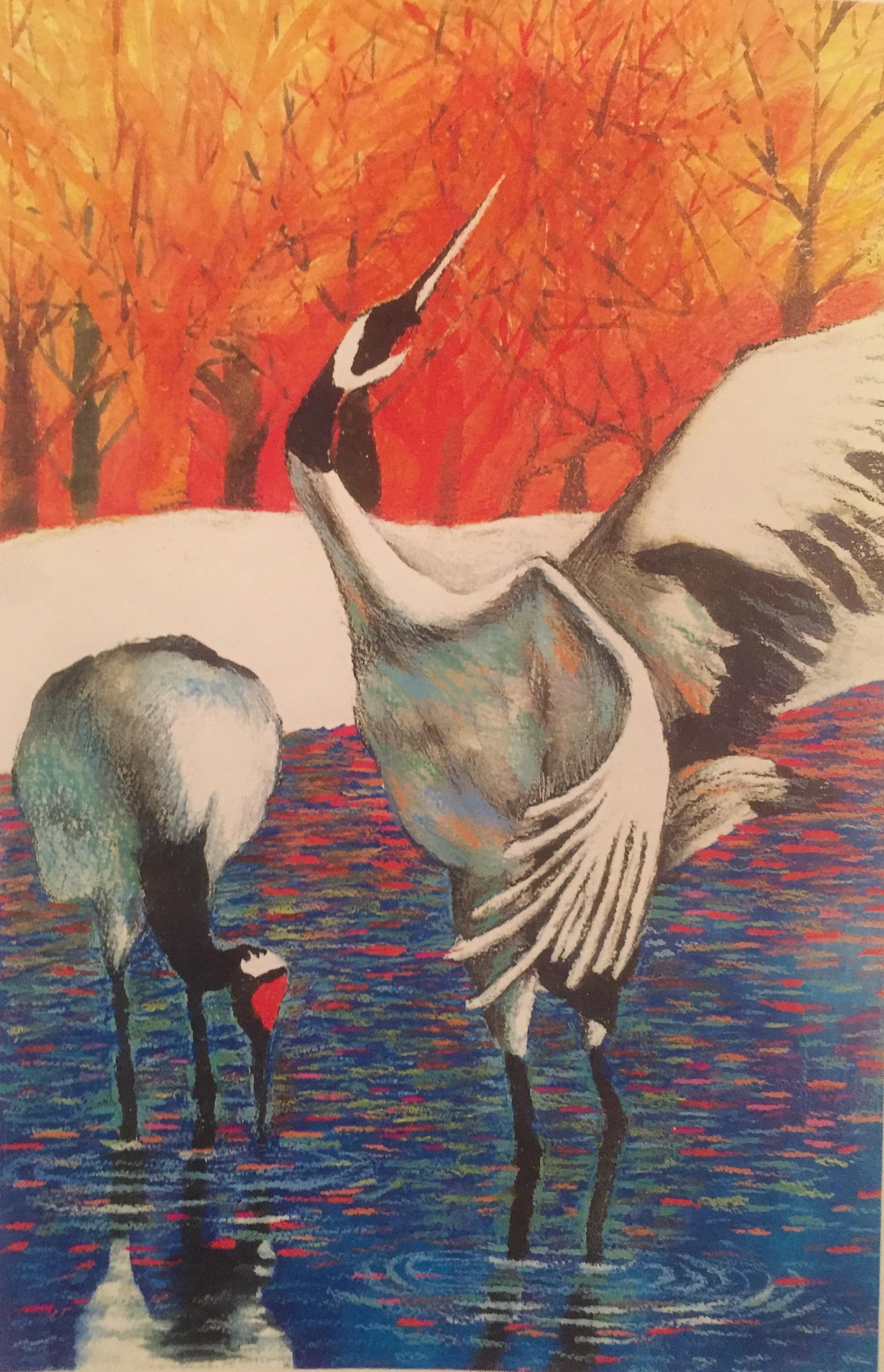 Hhak (Korean Cranes),  Colored Pencils on Watercolor