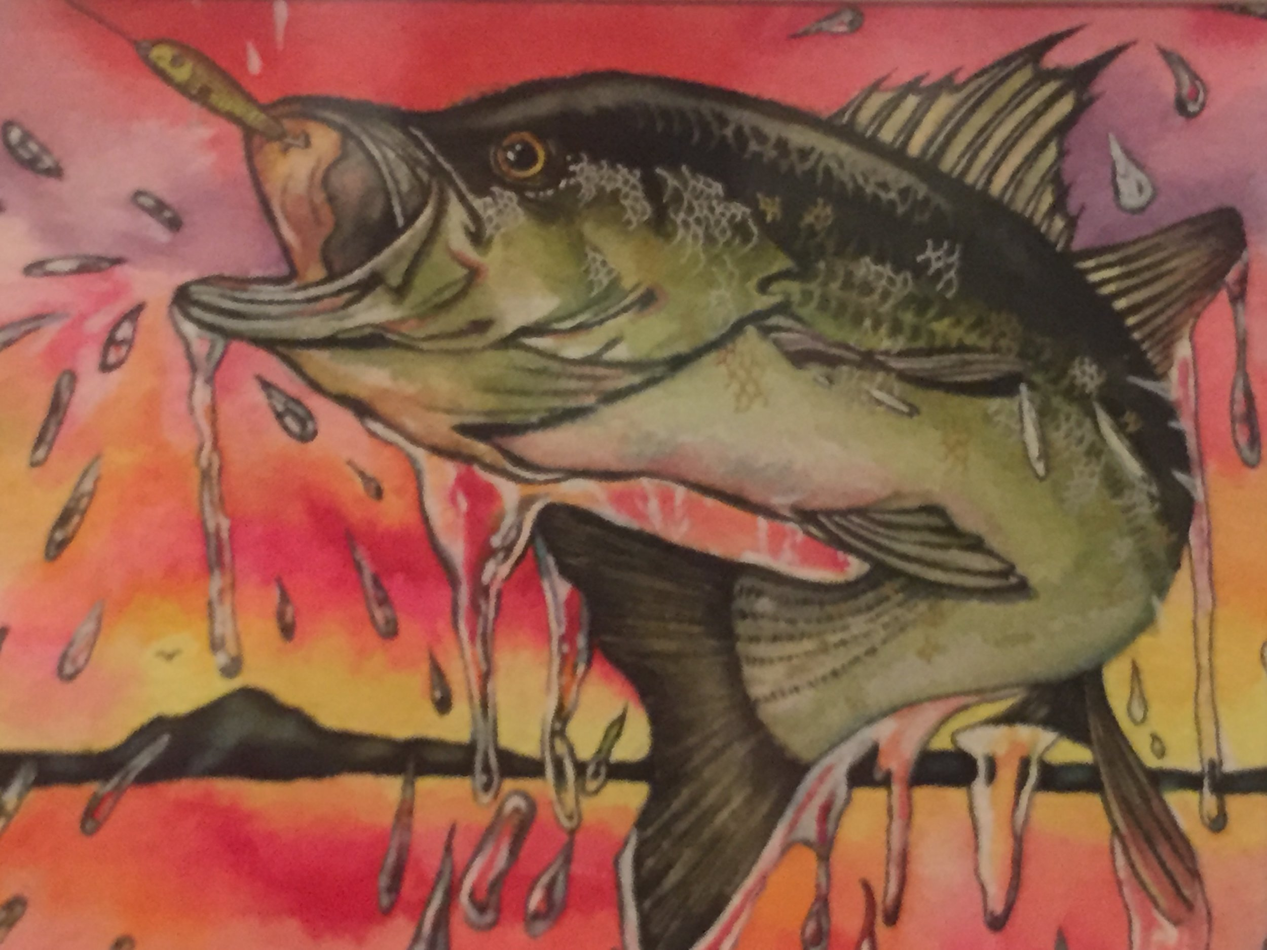Bass Jumping Out of Water,  Gel Pens and Colored Pencils on Watercolor