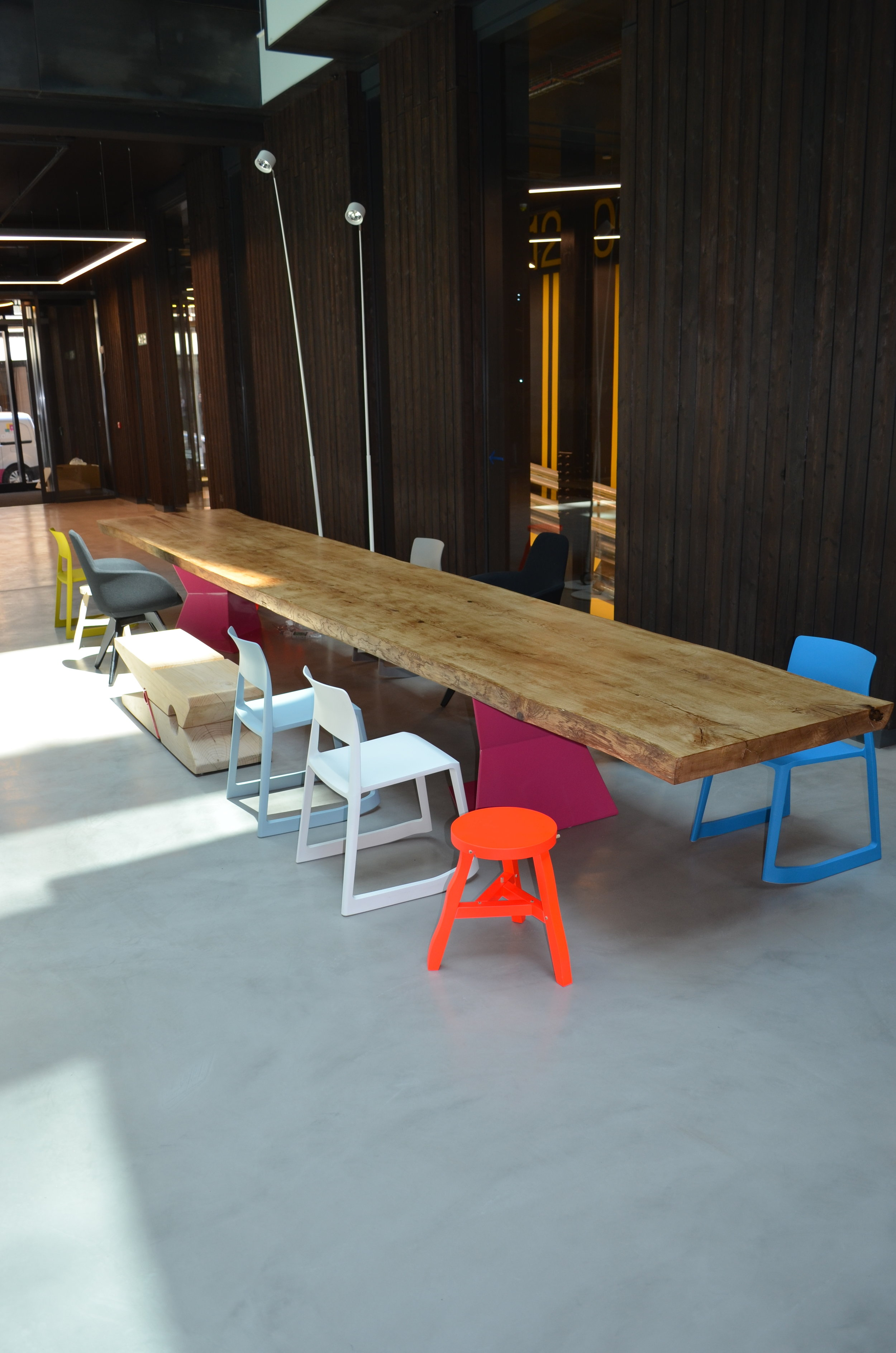 Communal space table at Alphabeta building