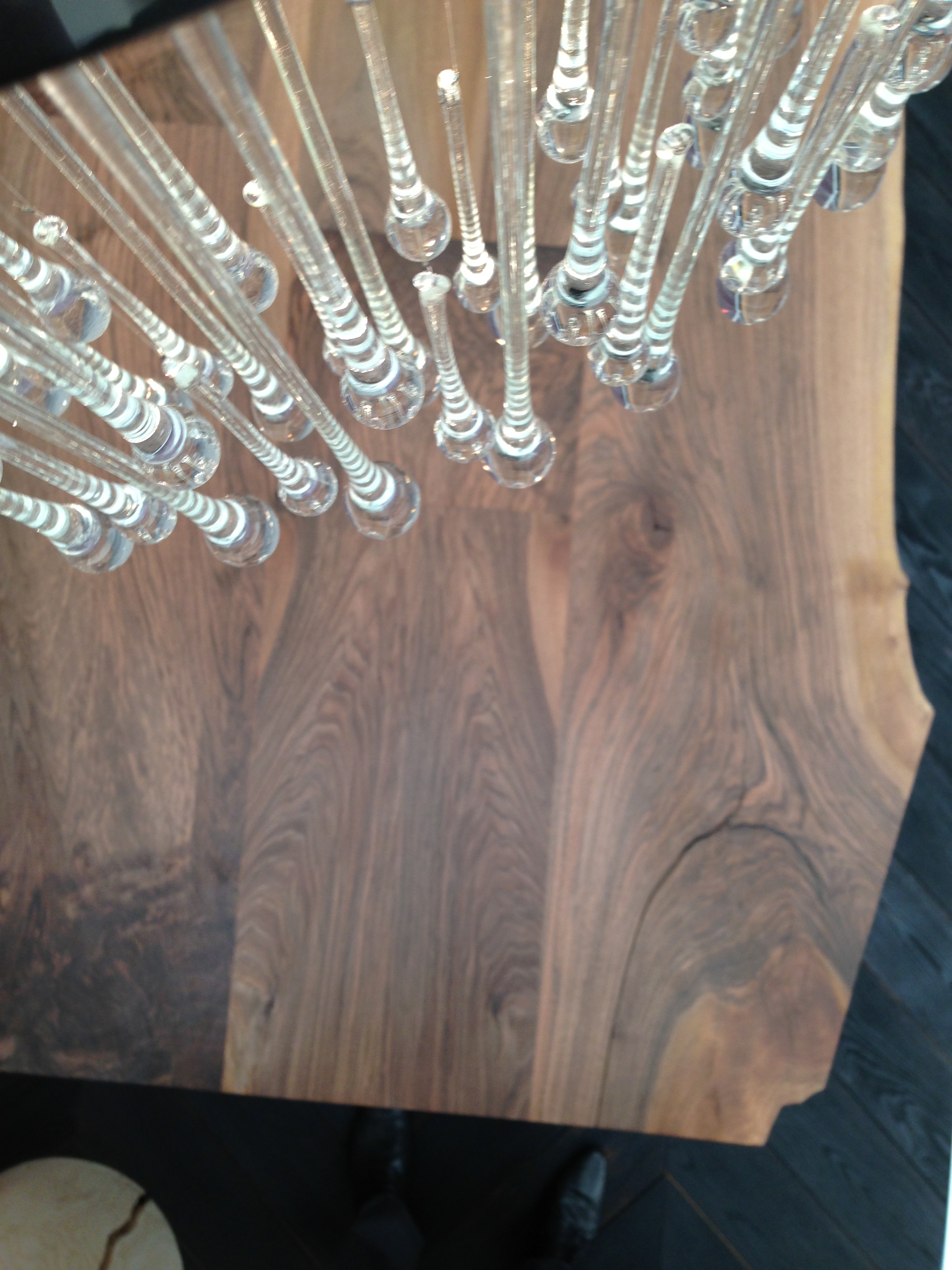 European walnut table Decorex tradeshow