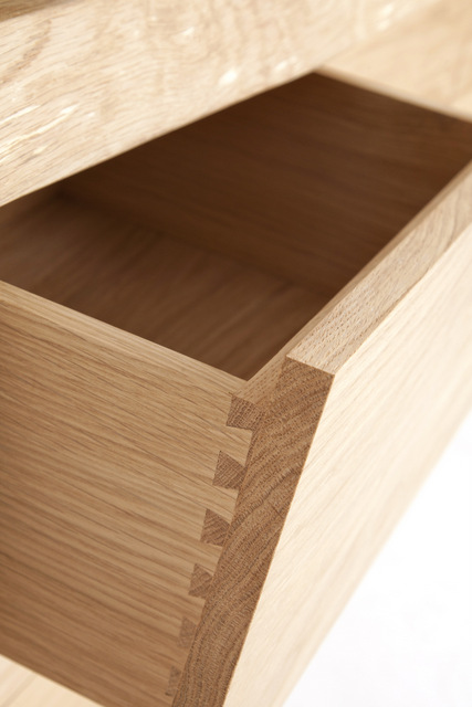 Dovetail joints on oak credenza
