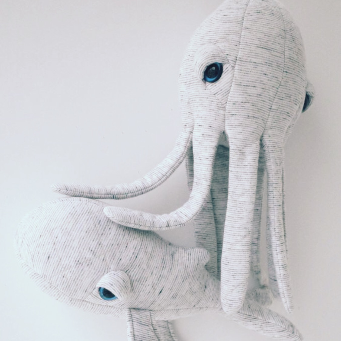 Lovely Sea Creature friends by Big Stuffed.  We already on an Octopus by French brand 'Big Stuffed' and he's lovely!
