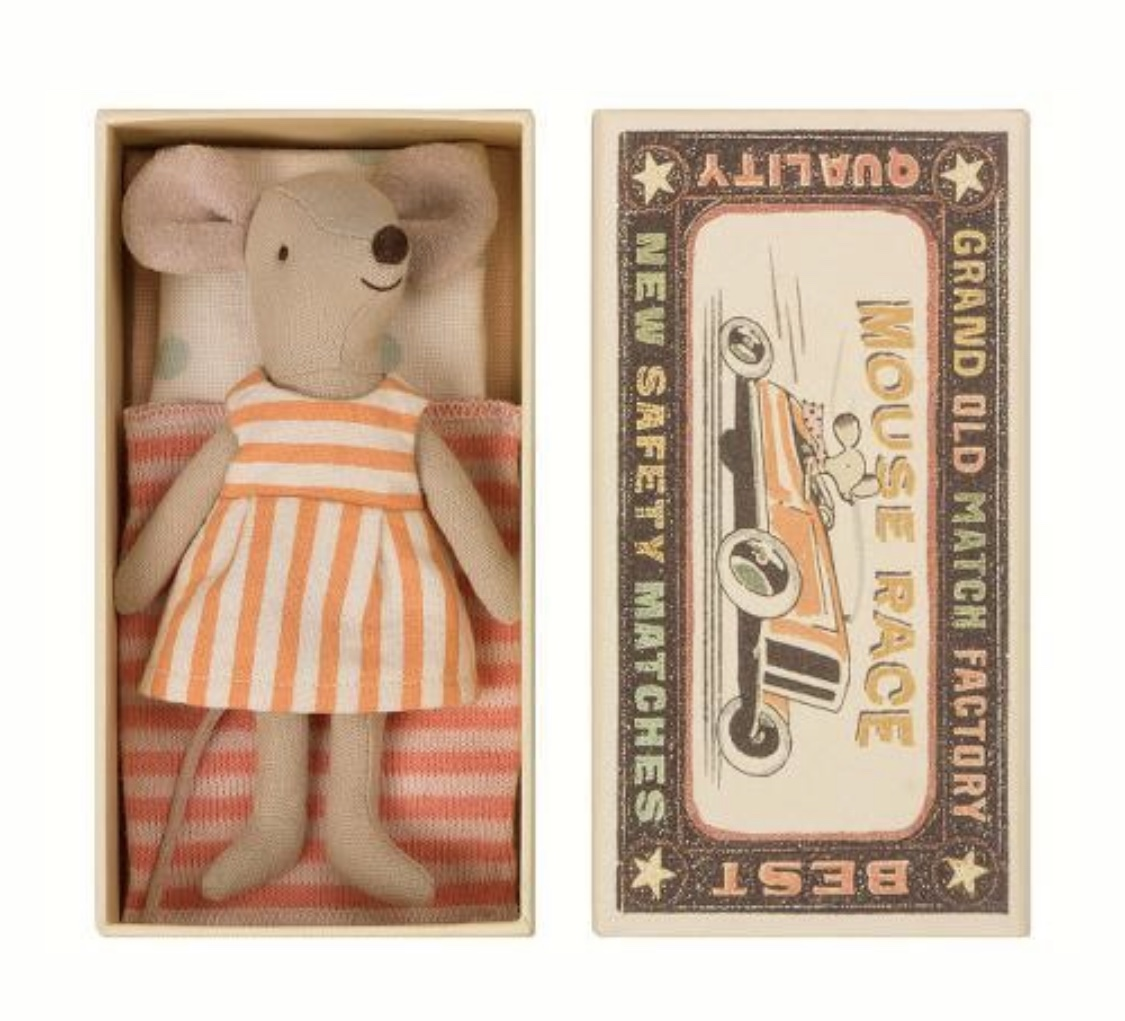 Maileg Mice.  The detail on each micro mouse by Maileg is just divine. They are so sweet, and I'm always arranging ours in mischievous positions, usually climbing on the toys and hiding on the chest of drawers. From: https://www.polarpost.co.u k