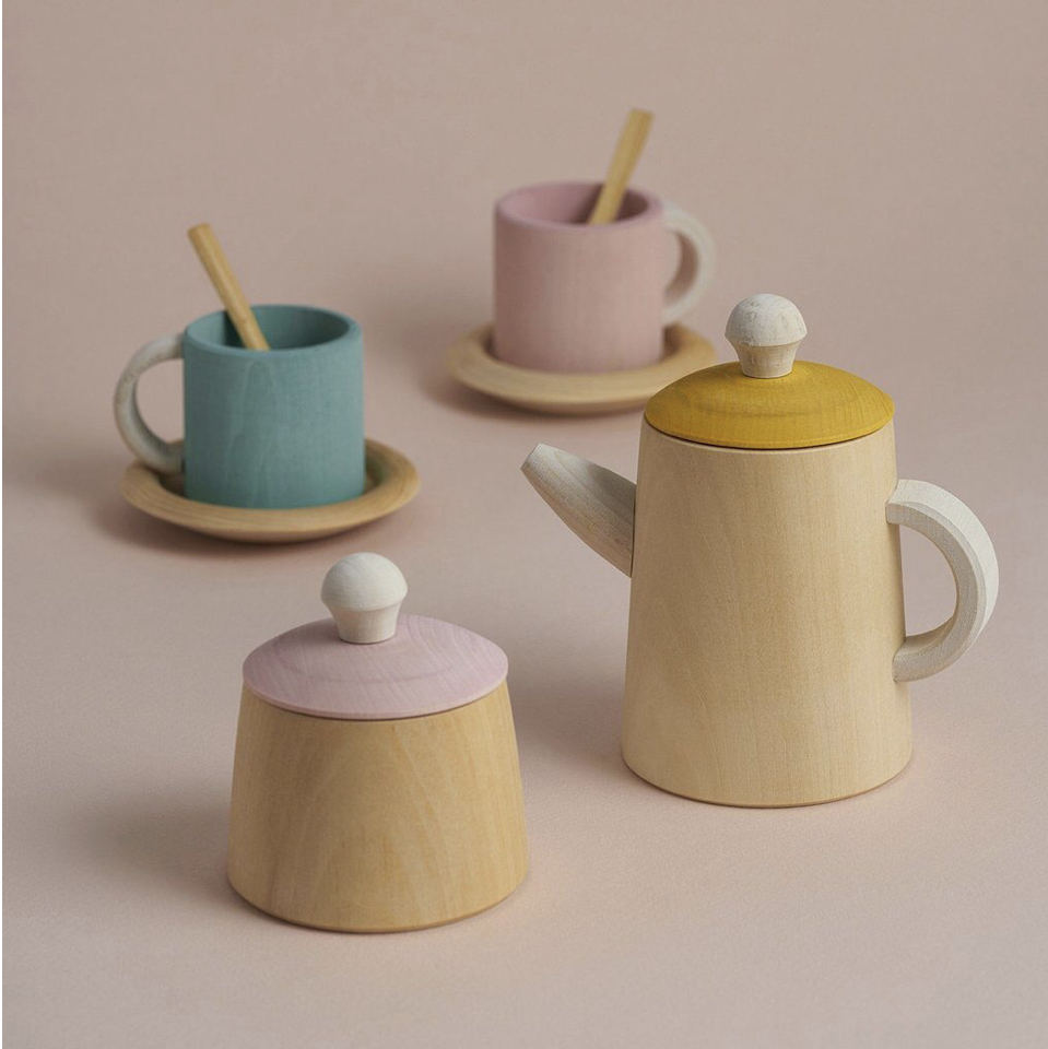 The sweetest wooden toy tea set by Russian brand Raduga Grez is one of our favourites and sits perfectly with out toy kitchen too.   Feels chunky and robust enough for little hands.   https://www.thispaperbook.com