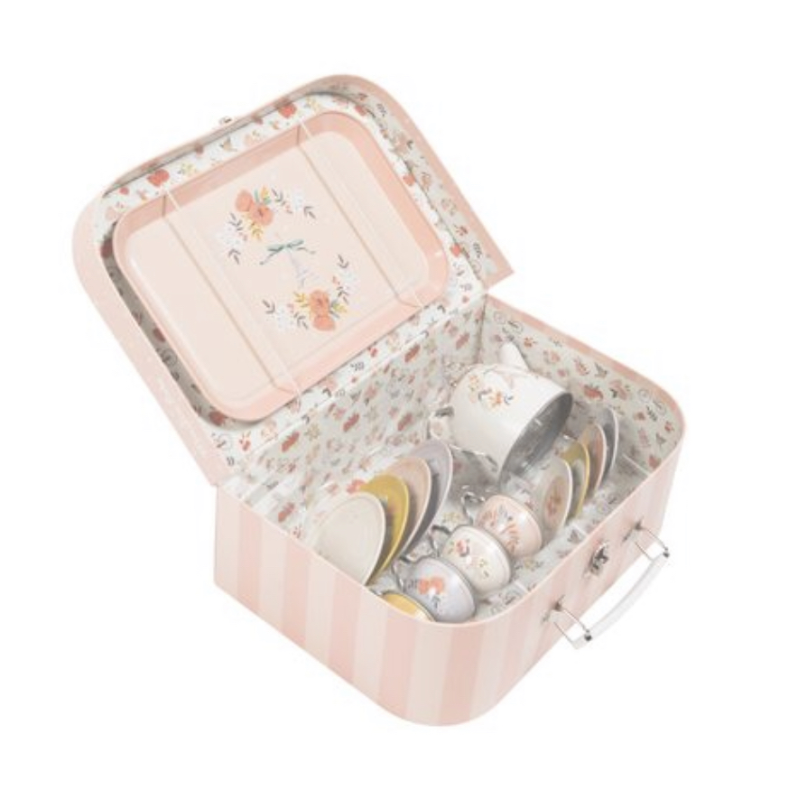Another tea set, but one all ages will really love- it comes in this beautiful case and is delicate and pretty. Although it's dainty, it's made of metal so is fairly robust, and makes a wonderful clinky noise!    https://www.bobbyrabbit.co.uk