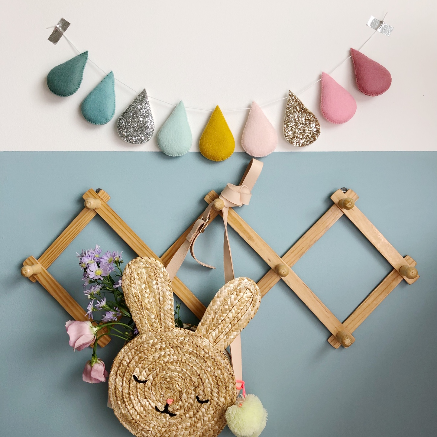 The sweetest straw bunny bag, perfect for collecting eggs!