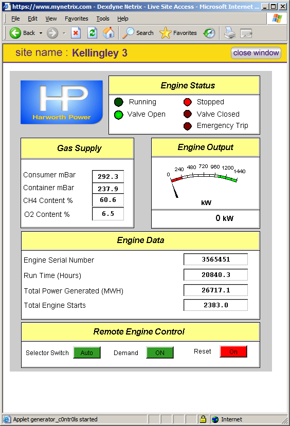 Web application designed for Harworth Power giving real-time data and control functionality.