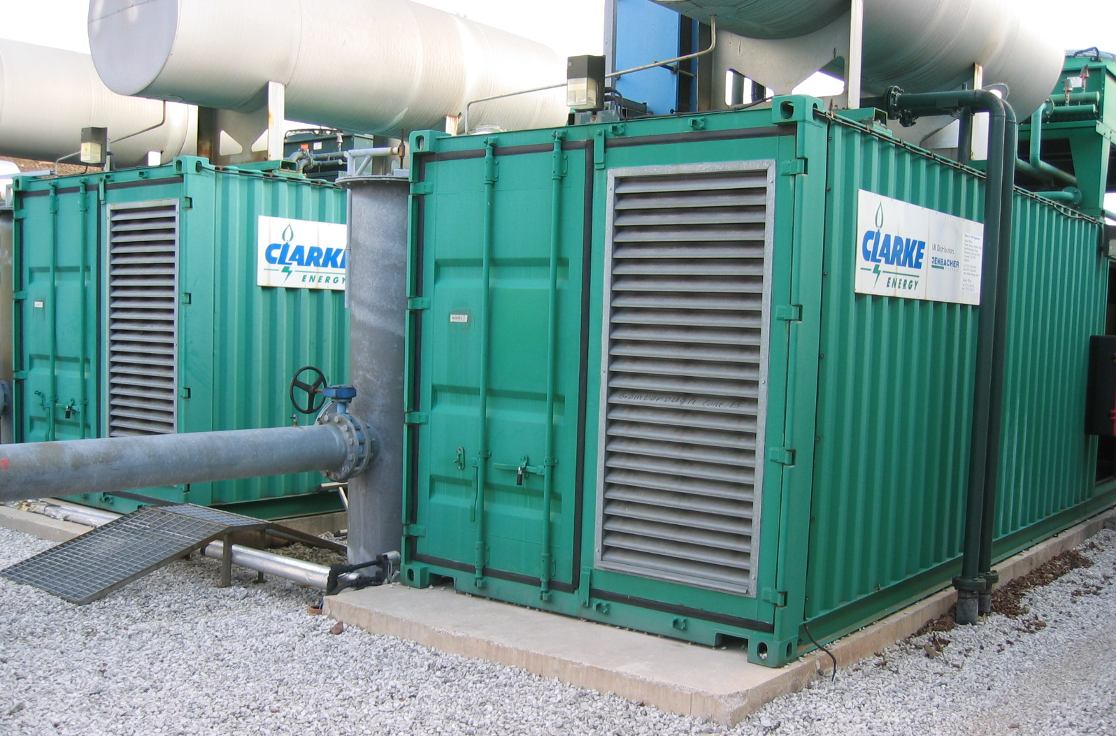 Clarke Energy Jenbacher gas generators installed at Brombrough Dock landfill site, Liverpool.