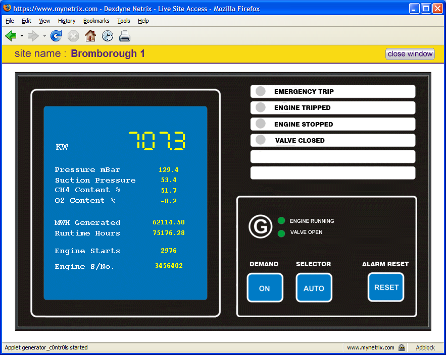 Web application designed for Clarke Energy giving live telemetry and remote restart facility.