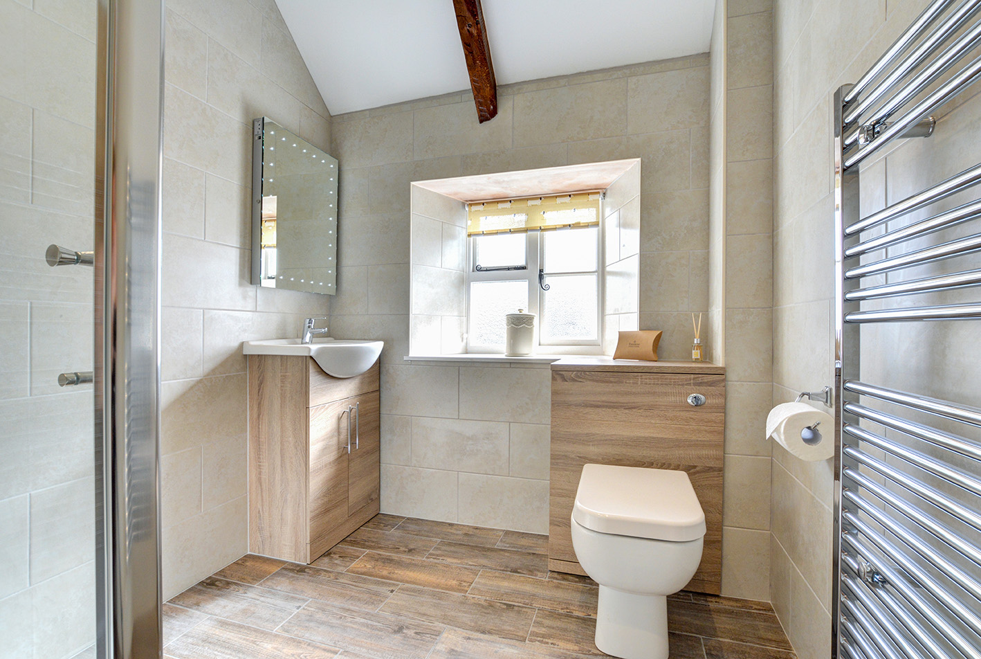 The bathroom of Otterbridge luxury self catering converted barn holiday cottage at Penrose Burden in North Cornwall01.jpg