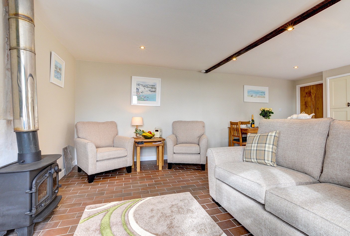 The lounge of Butterwell luxury self catering converted barn holiday cottage at Penrose Burden in North Cornwall 01.jpg