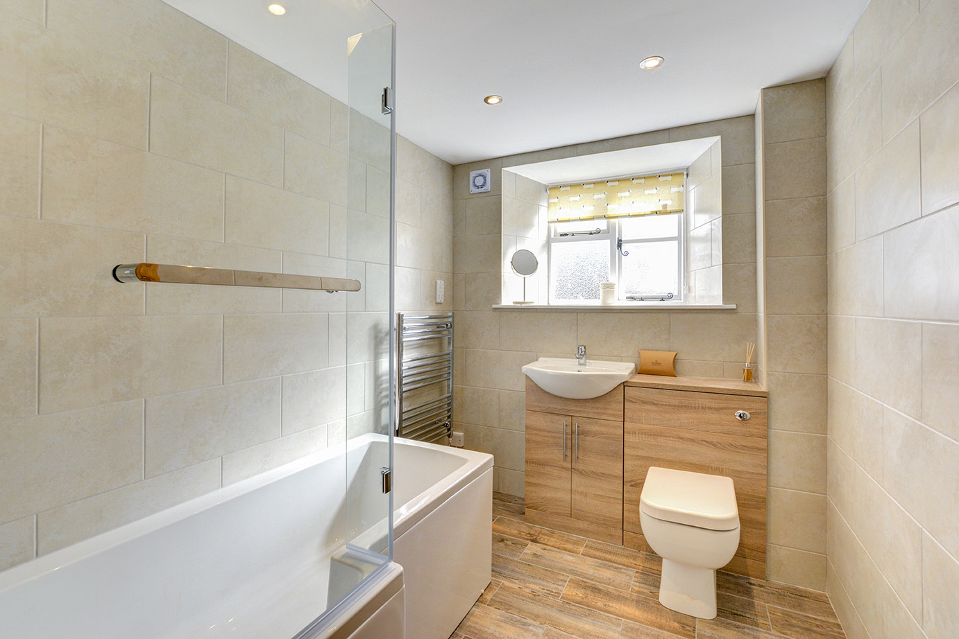 The bathroom of Butterwell luxury self catering converted barn holiday cottage at Penrose Burden in North Cornwall 01.jpg