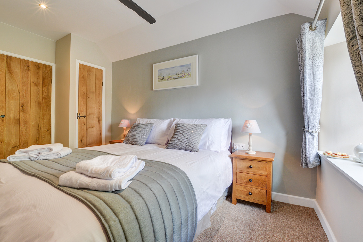 The first bedroom of Goosehill luxury self catering converted barn holiday cottage at Penrose Burden in North Cornwall 02.jpg
