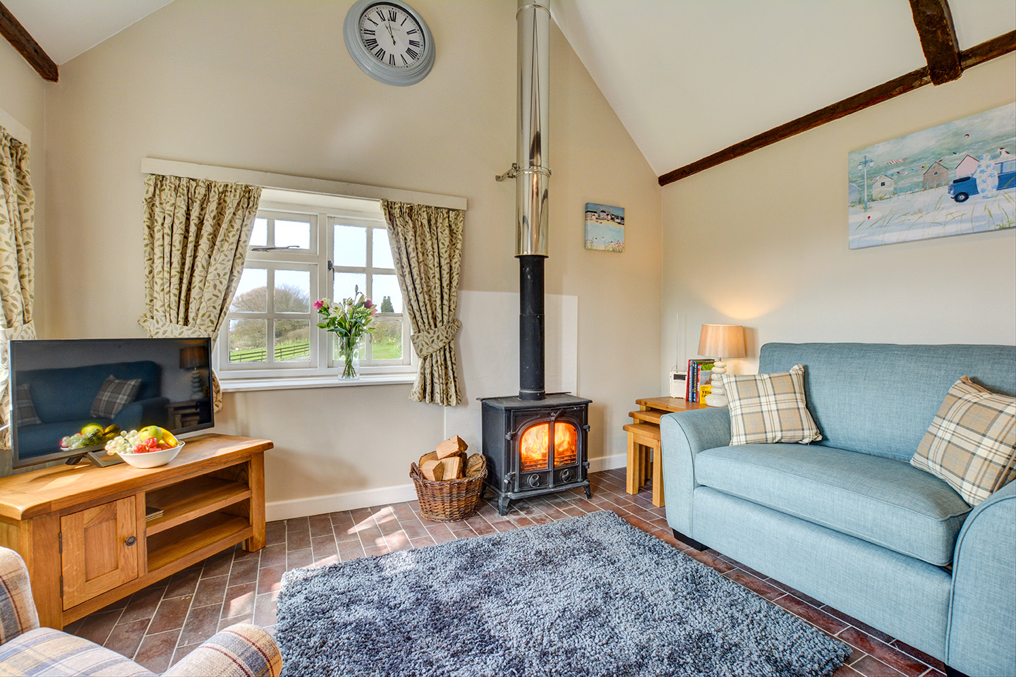 The lounge at Jingles luxury self catering holiday cottage at Penrose Burden in North Cornwall near Bodmin Moor01.jpg