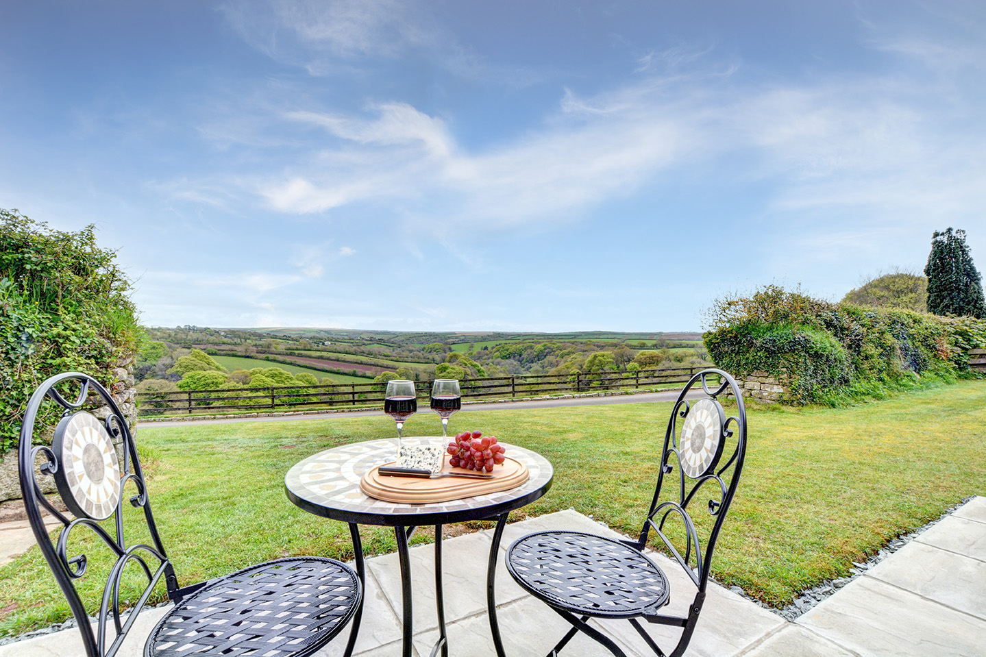 The views from the patio area of The Linney self catering cottage converted barn at Penrose Burden holiday cottages in Cornwall.jpg