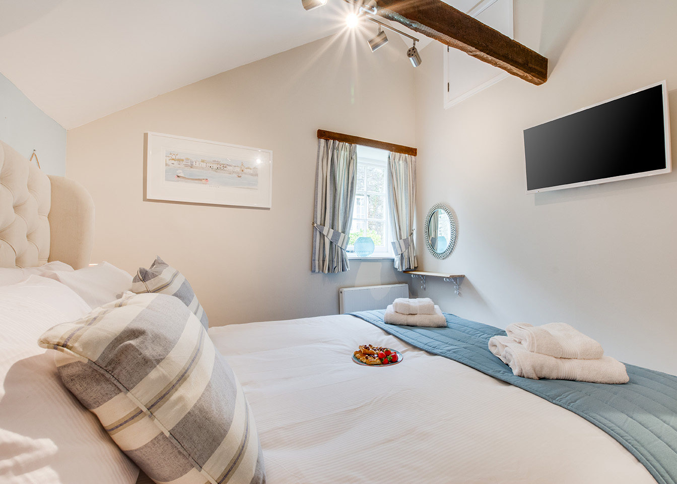 The master bedroom of Snappers luxury self catering converted barn holiday cottage at Penrose Burden in North Cornwall 02.jpg