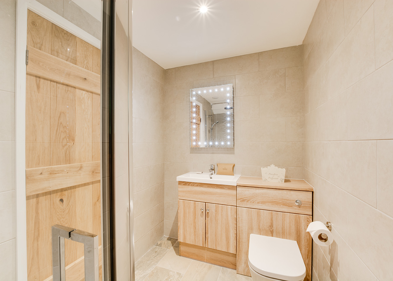 Bathroom 1 of Troutstream luxury self catering converted barn holiday cottage at Penrose Burden in North Cornwall 01.jpg