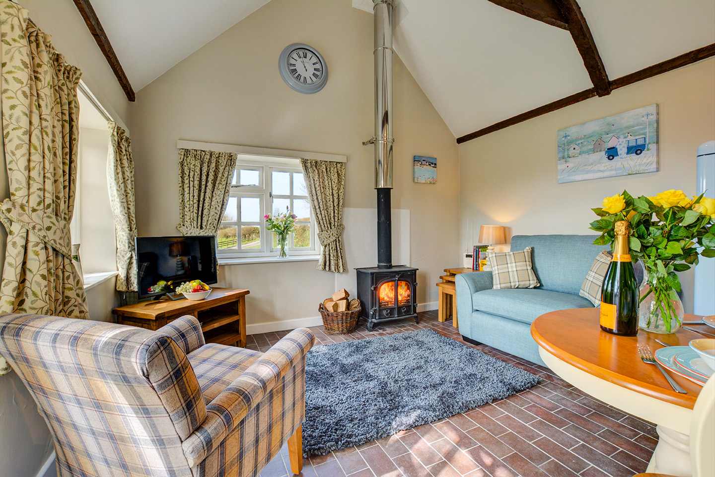 The lounge at Jingles luxury self catering holiday cottage at Penrose Burden in North Cornwall near Bodmin Moor02.jpg