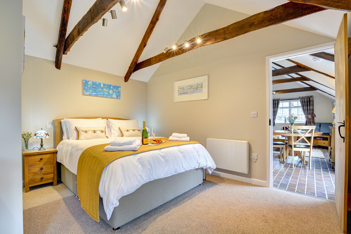 The bedroom of The Linney self catering cottage converted barn at Penrose Burden holiday cottages in Cornwall 02.jpg