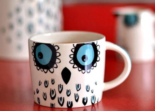 A ceramic owl mug