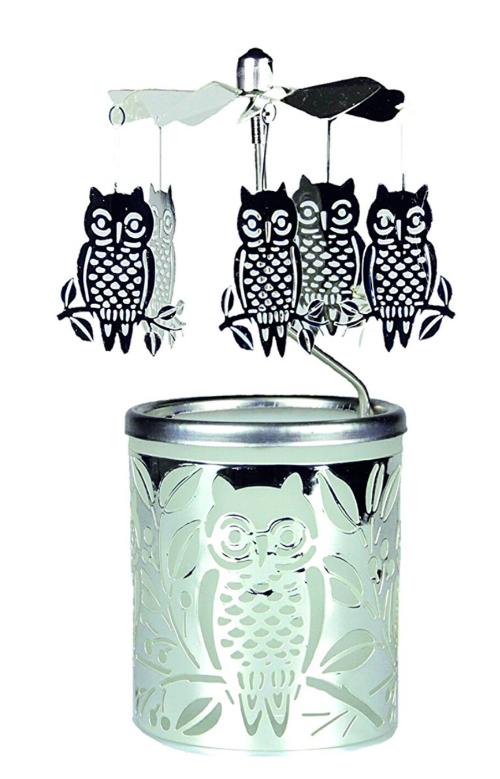 An owl tea light spinner