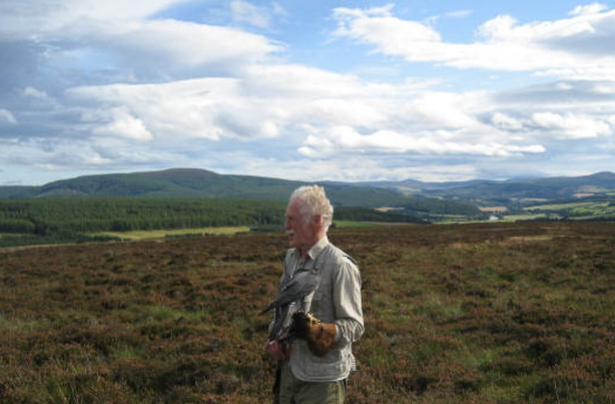 Alistair McKissock, one of Scotland's most respected falconers, prepares to release his Peregrine