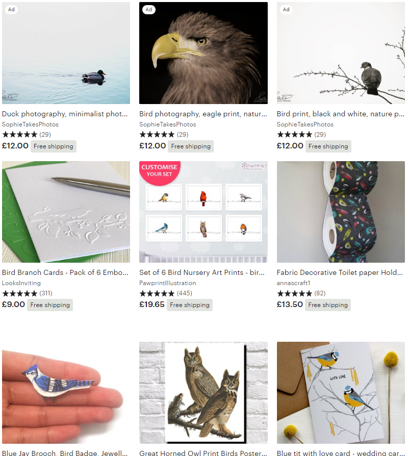 Etsy bird-themed gifts