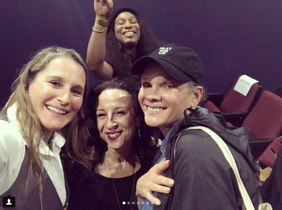 Catherine Gund, Maria Hinojosa, Elle Hearns, and an audience member at the Maysles Documentary Center, NYC, November 2017.
