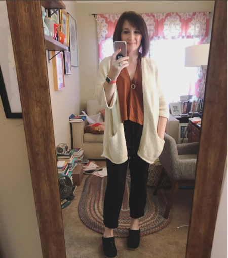 A photo from my Slow Clothes Movement Instagram — everything I'm wearing here is sustainably/ethically made and/or bought secondhand.